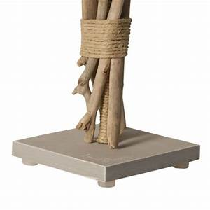 Lampe Bois Flotté : lampe de chevet bois flott abat jour gris clair ~ Teatrodelosmanantiales.com Idées de Décoration