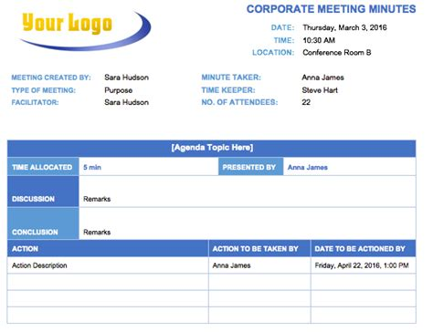 Training Records Meeting Template Download by Free Meeting Minutes Template For Microsoft Word