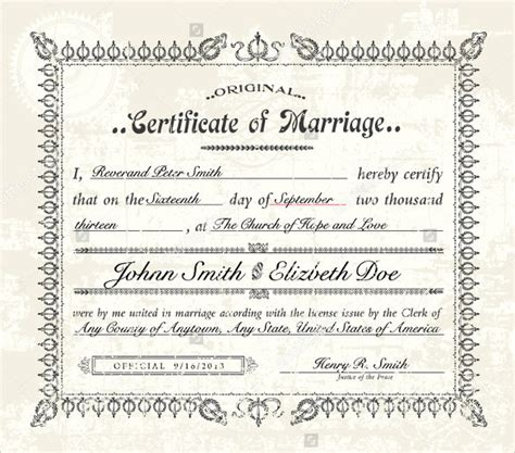 Marriage Certificate Template by Wedding Certificate Template 22 Free Psd Ai Vector