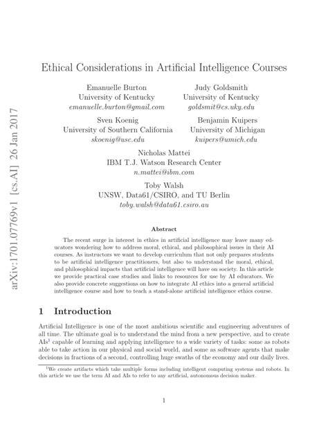 (PDF) Ethical Considerations in Artificial Intelligence