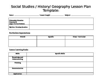 Generic Lesson Plan Template by History Lesson Plan Template Templates Data