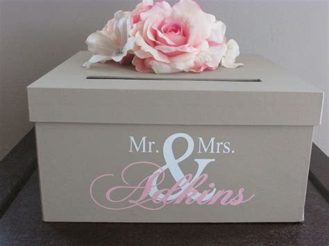 large rustic wedding card box holder with heart initial