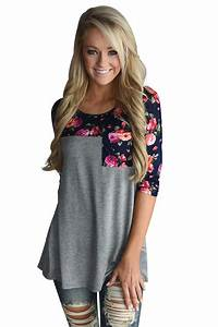 Baby Length And Weight Chart Cheap Fashion Floral Printed Gray Womens Top