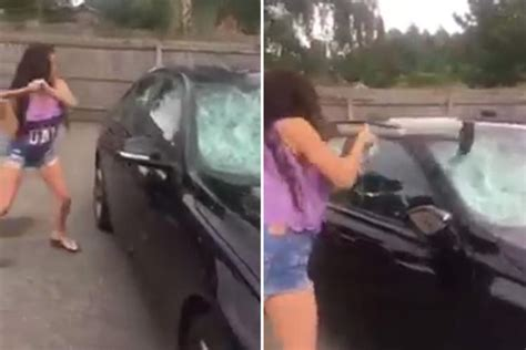 raging traveller woman smashes  cheating husbands bmw