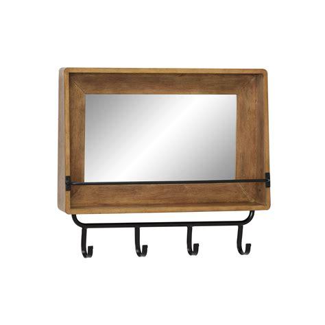 decmode  rectangular natural wood wall mirror  shelf  iron hanging hooks