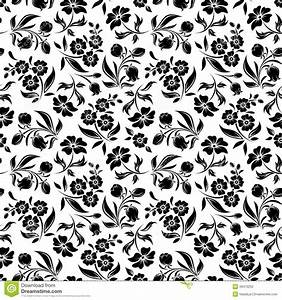 Seamless Black Floral Pattern On White. Vector Ill Stock ...