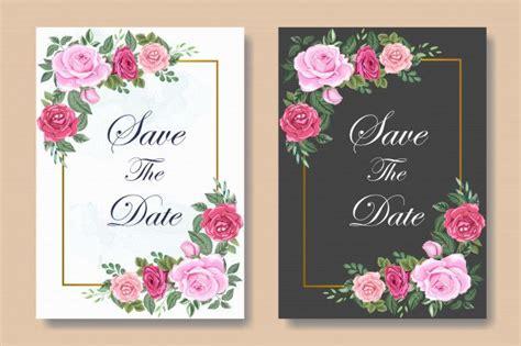 wedding invitation card template  flower  leaves