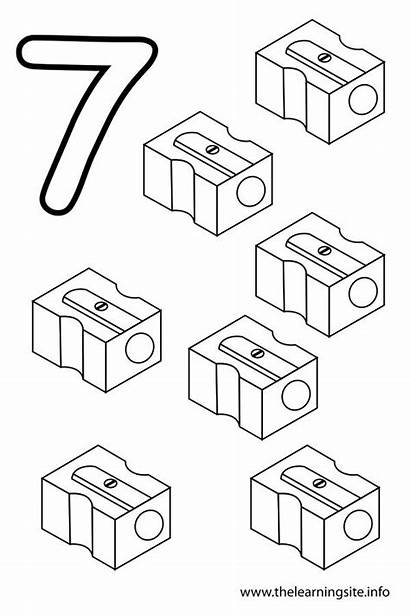 Number Seven Flashcard Sharpeners Outline Coloring Thelearningsite