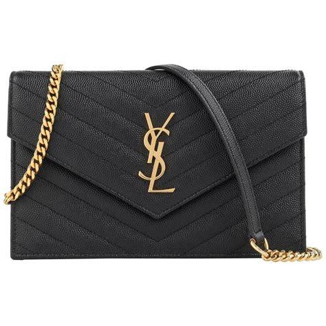 saint laurent aw  ysl black monogram envelope chain wallet clutch purse  sale  stdibs