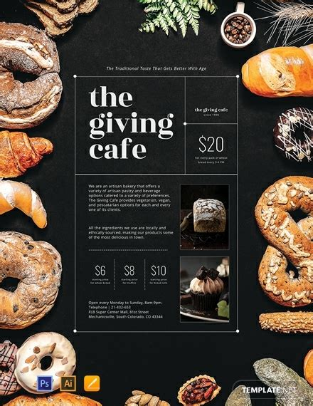 artisan bakery poster template psd apple pages