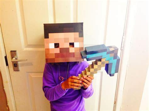 minecraft steve maske kostuem ueber cool minecraft diy