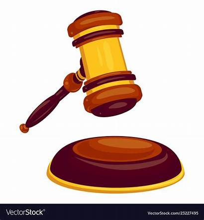Hammer Cartoon Judge Icon Vector Wood Royalty