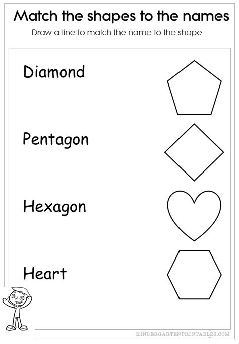 match the shapes to the names worksheets