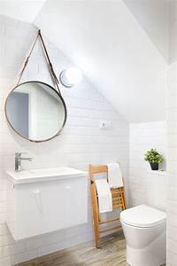 Miroir Rond Salle De Bain : blanc et bois clair pi ce ma tresse le grand miroir rond ~ Nature-et-papiers.com Idées de Décoration