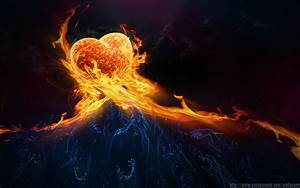 Fire Burning Heart of Passion - HD Wallpapers