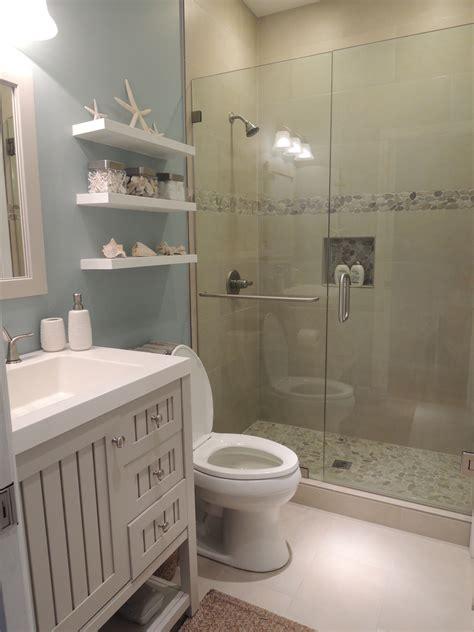 Beach Theme Bathroom Stone Shower Floating Shelves