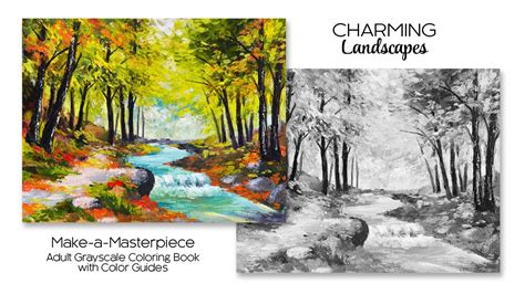 charming landscapes adult grayscale coloring book  color guides youtube