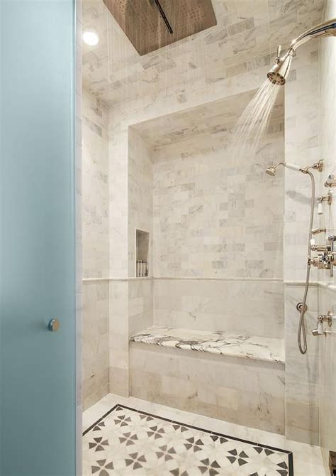 Fall In Shower Floor by A Frosted Glass Door Opens To A Walk In Shower Filled With