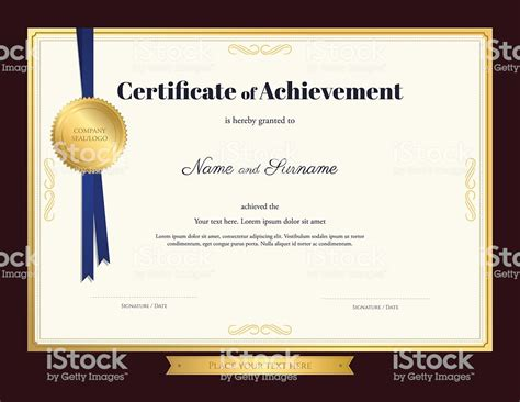 certificate templates with photos elegant certificate of achievement template with blue
