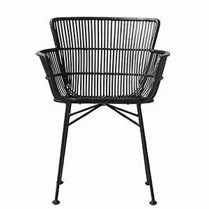 Chaise Rotin Metal : chaise rotin noir avec accoudoirs salle a manger design ~ Teatrodelosmanantiales.com Idées de Décoration