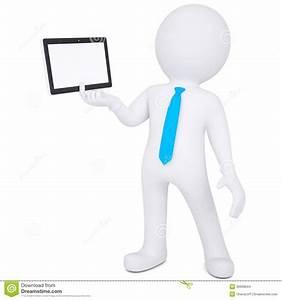 3d man holding tablet PC stock illustration. Illustration ...