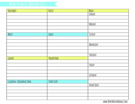 weekly meal planner template  grocery list mary