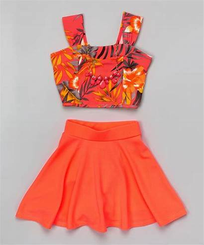 Crop Tops Outfits Neon Floral Zulily Coral