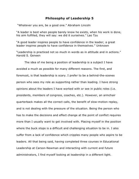 leadership philosophy template philosophy of leadership 5