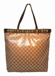 GUCCI Monogram Canvas Studded Shopping Brown Tote Bag For ...