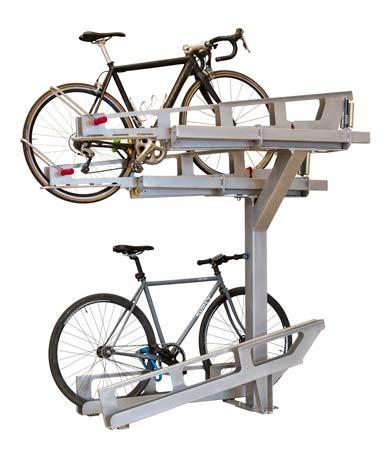 dero bike racks dero decker 2 tier bicycle parking with pull trays