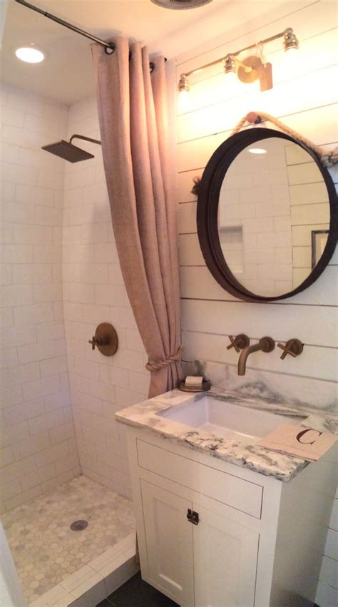 gorgeous bathroom  ship lap walls marble counter