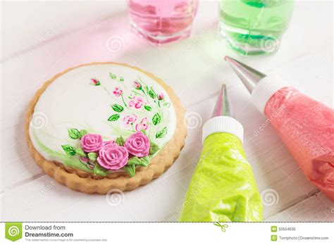 painted gingerbread cookie with roses top view stock