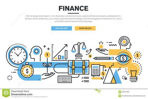 Flat Line Design Concept For Finance Stock Vector
