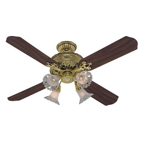 4 blade ceiling fan hunter 23710 1896 art noveau 52 4 blade burnished brass