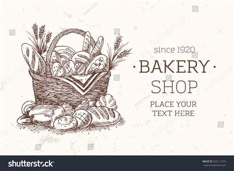 bakery basket food template bread sketch stock vector
