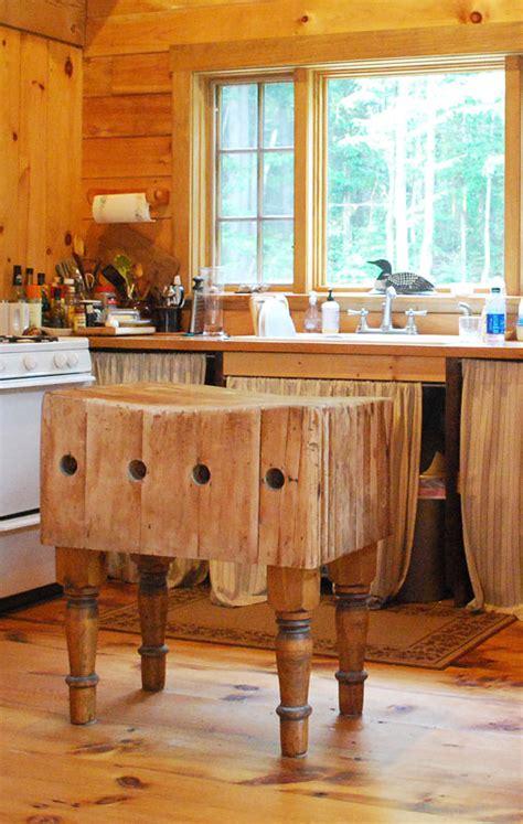 antique butcher block kitchen island rustic decor real log style