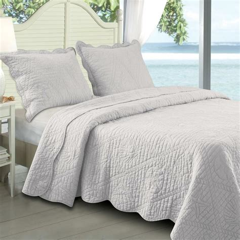 Coverlet Size by Seashell Design Quilt Set 100 Cotton Oversized Prewashed