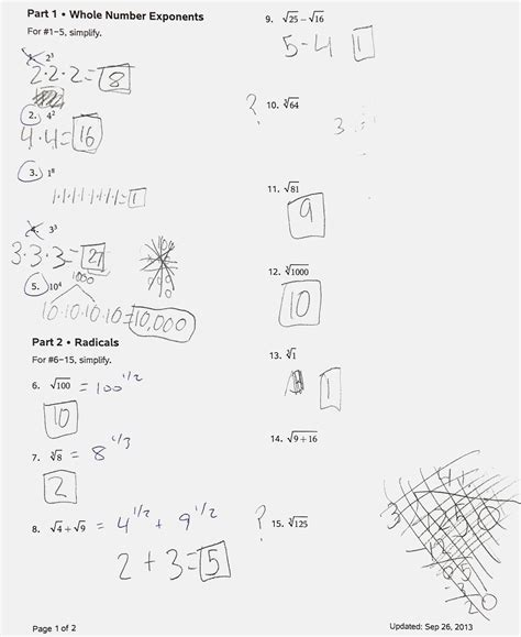 Unit 7 Exponent Rules Worksheet 2 Answer Key Rational