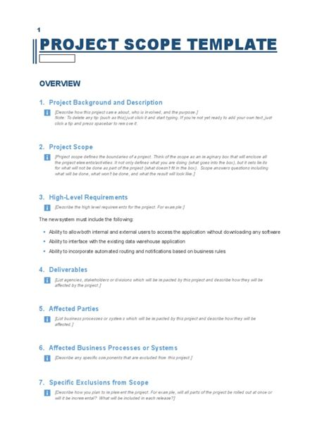 project scope template business process application