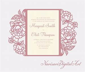 peonies cricut silhouette cameo wedding invitation gate With wedding invitations with the cricut