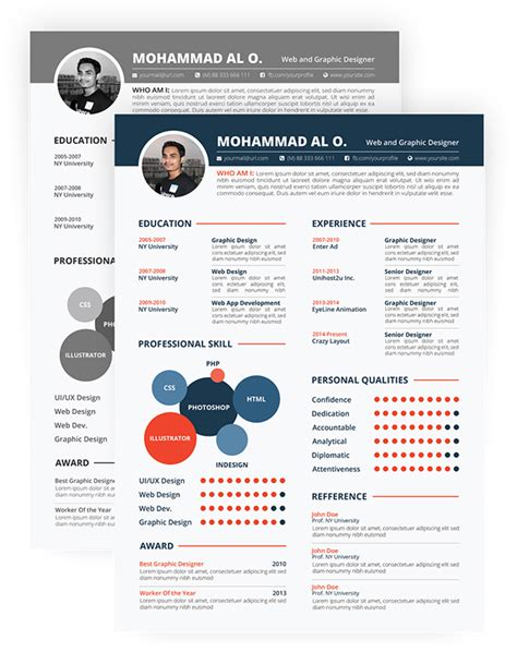 free resume template print ready two color versions on