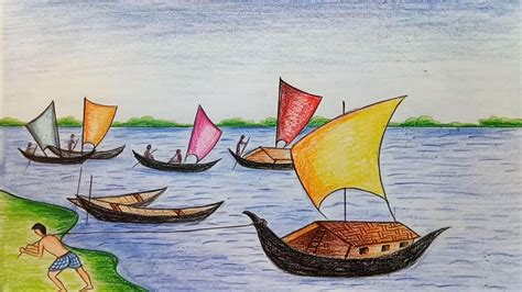 Ferry Boat Drawing Easy by How To Draw Scenery Of Boat ন ক ট ন র দ শ য