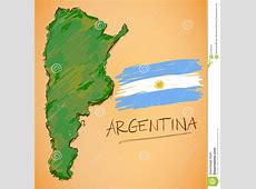 Argentina Map And National Flag Vector Stock Vector