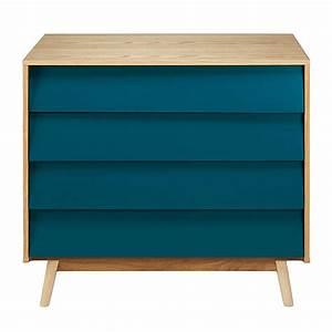 Commode Bleu Canard : commode vintage 4 tiroirs bleu p trole fjord maisons du monde ~ Teatrodelosmanantiales.com Idées de Décoration
