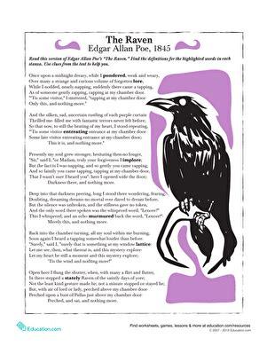 the raven worksheets for middle school livinghealthybulletin