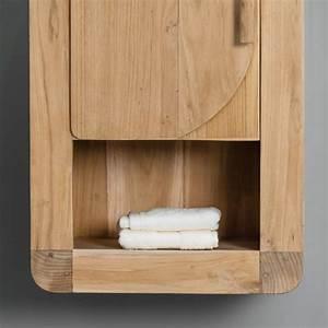 Meuble Salle De Bain Promo Destockage : armoire de toilette en bois teck massif r tro rectangle naturel h 44 cm ~ Teatrodelosmanantiales.com Idées de Décoration