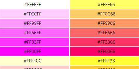 web safe colors  hex color code chart reference