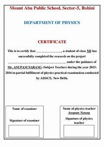 Certificate Sample For Project File Gallery