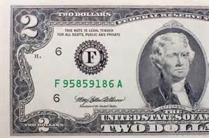 Thomas Jefferson 2 Dollar Bill