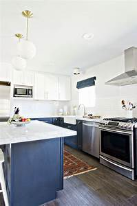 navy gold white kitchen reveal the vintage rug shop With what kind of paint to use on kitchen cabinets for gold thank you stickers